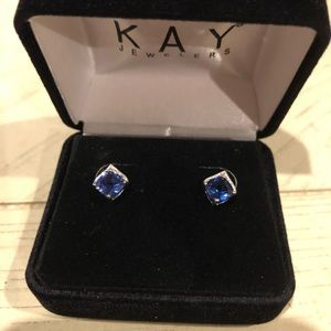 Blue and White Lab-created sapphire stud earrings